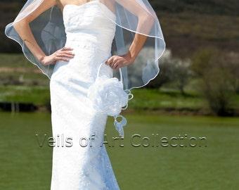 """1T Fingertip Bridal Wedding Veil 1/8"""" Satin Cord Trim VE219 white, ivory NEW CUSTOM VEIL"""
