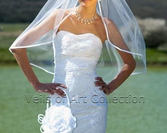 "1T Elbow Bridal Wedding Veil 3/8"" Satin Trim VE201 white or  ivory"