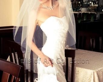 2T Fingertip Bridal Wedding Veil Cut Edge VE182 white ivory