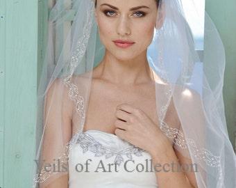 Designer One Tier Embroided Bridal Wedding Veil Fingertip Style VE301 NEW CUSTOM VEIL