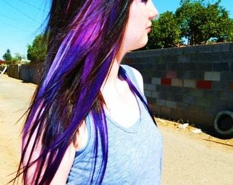 Purple Galaxy Hair Extensions, Human Hair Extensions, Clip in Human Hair, Pastel, Ombre, Dip Dye