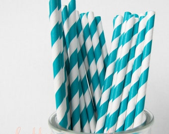 CLEARANCE - Striped Paper Drinking Straws (25) - TURQUOISE - Includes Free Printable Straw Flags