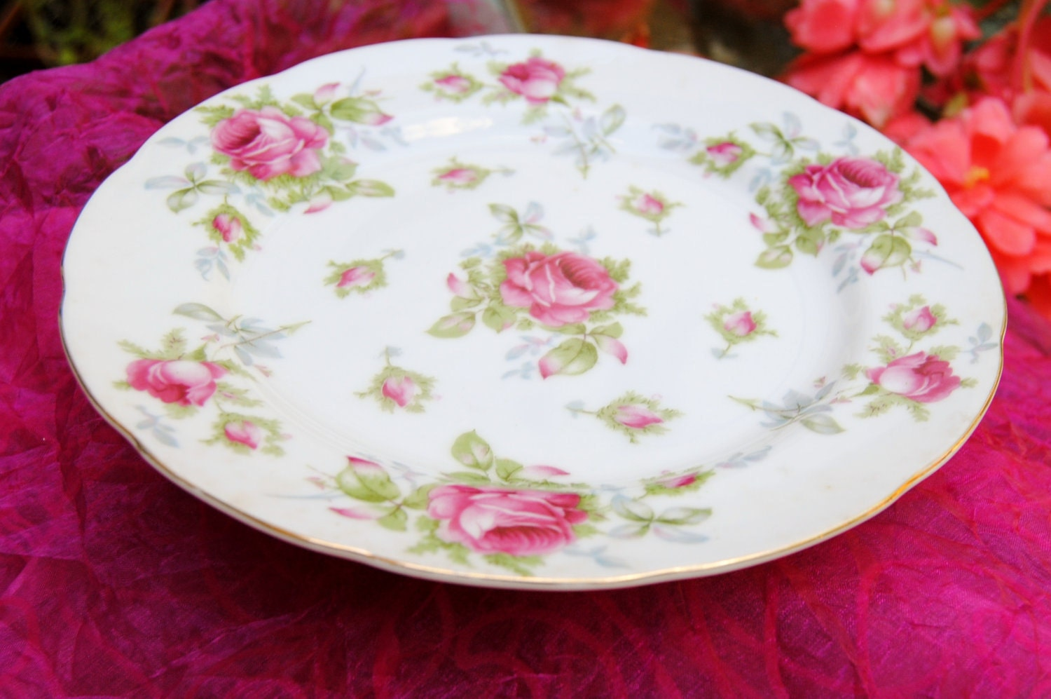 Vintage Lefton China Plate Pink Roses Hand Painted