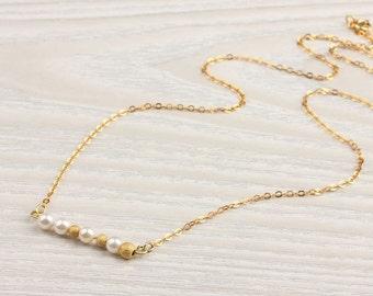 "Freshwater pearl necklace, bridesmaid necklace, bridal necklace, gold necklace, vermeil, dainty pearl, wedding, ""Calliste"" Necklace"