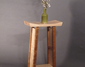 Small Side Table: Tiger Maple & Cherry Narrow End Table, Accent Table, Entry Table- Handmade Wood Furniture- SHAPED COLLECTION