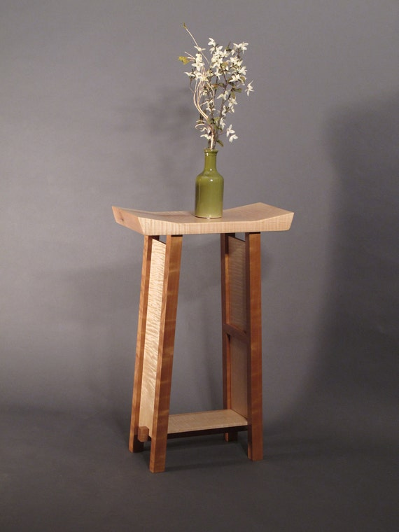 Small side table tiger maple cherry narrow end table entry for Narrow accent table