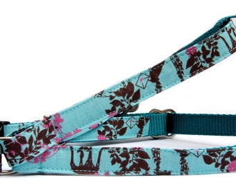 Dog harness dog leash Turquoise blue pink brown woodland print cotton pet harness leash Cute girl boy dog step in harness Designer fabric