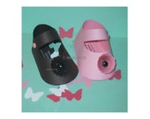 25 Baby Shoe Gift Box Shower Favors (c) MARZYCARDS . Luxury PAPER Shoe KIT T I Y Booties Pink Brown