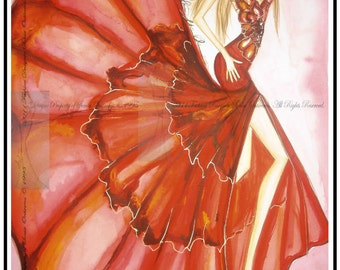 Fashion Illustration Art Print Limited Edition Wall Decor Signed, Matted Ready to Frame & Hang