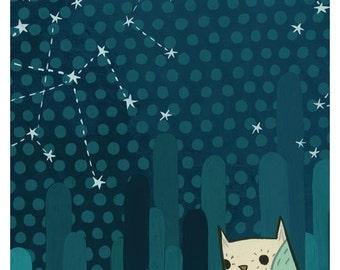 STARRY OWL art print (II) by Susie Ghahremani, 5x7 constellation night owl artwork giclee - sweet dreams baby nursery art