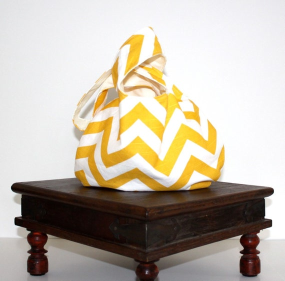 RTS Errand Runner Self Closing Pouch Bag with large pocket Yellow Chevron