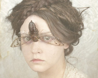 You Don't Sing To Me Anymore - FREE SHIPPING Surreal Photo Print Creepy Portrait Fine Art Image Face Cicada Wings Eyes Cream Brown Insect