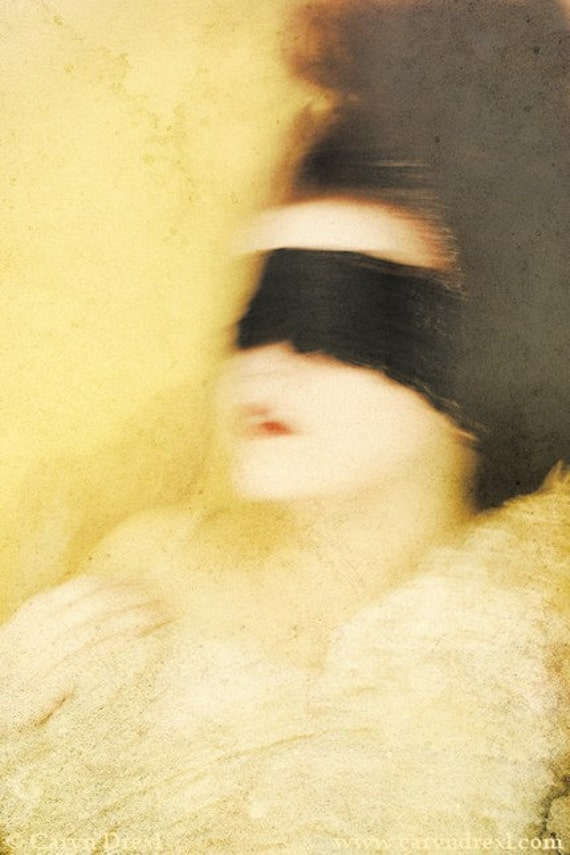 Water Colors - FREE SHIPPING Surreal Photo Print Underwater Portrait Fine Art Image Girl Wearing Blindfold Yellow Soft Blurry Lace Red Lips