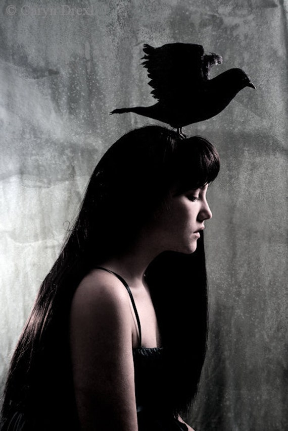 From Such Great Heights - FREE SHIPPING Surreal Photo Print Girl Black Bird Crow Raven Gray Blue Silhouette Silver Creepy Portrait Fine Art