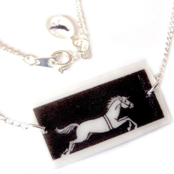 Thaumatrope illusion NECKLACE ... The Circus Acrobat and the Horse .. Limited Edition