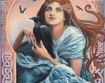 Mórríghan 8x10 Fine Art Print Pagan Mythology Celtic Witch Art Nouveau Psychedelic Bohemian Gypsy Goddess Art