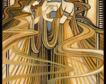 Three Graces ACEO Mini Altar Art Print Art Nouveau Fine Art Deco Pagan Bohemian Greek Goddess Art