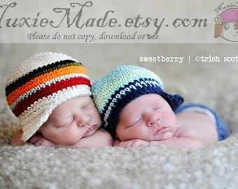 Stripes Baby Hat, Off White Stripes Newsboy, Stripes Newsboy, Baby Hat with Brim, Crochet Newsboy Hat for Boy, 6-12 Months Baby Hat, Boy Hat