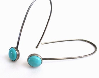 Simple Blue Turquoise Earrings.  Blackened Sterling and Fine Silver.  Long and Modern.