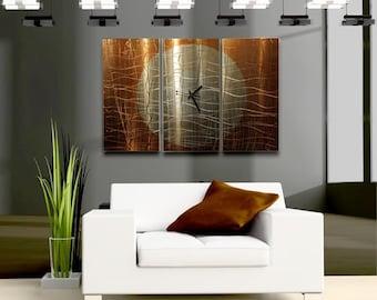 Gold Modern Metal Wall Clock - Contemporary Functional Wall Art - Metal Clock - Home Decor - Accent -  Warm Embrace Time by Jon Allen