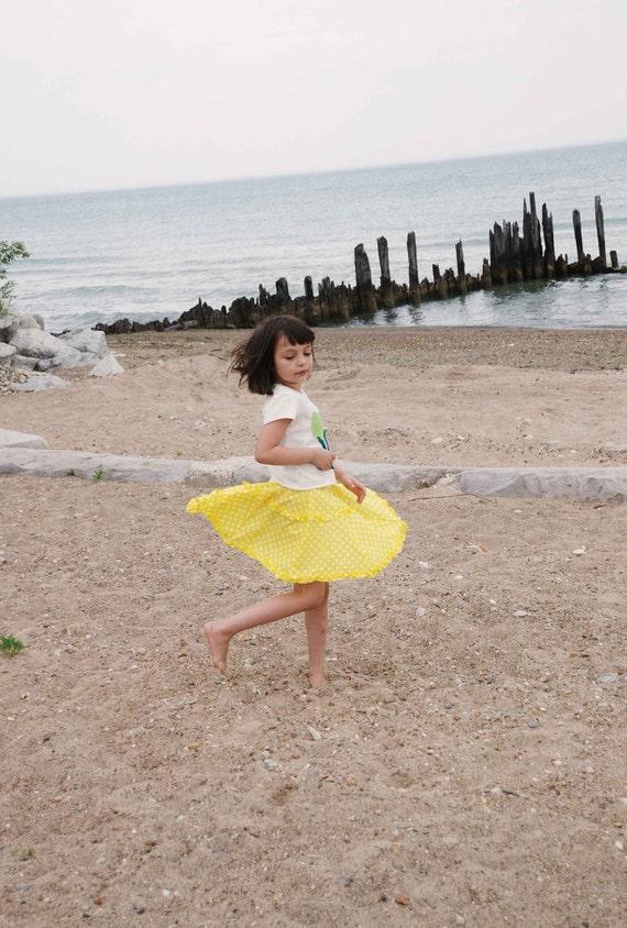 Upcycled Polka Dots Yellow  Umbrella Skirt and Ruffles Perfect Item for Rainy Days