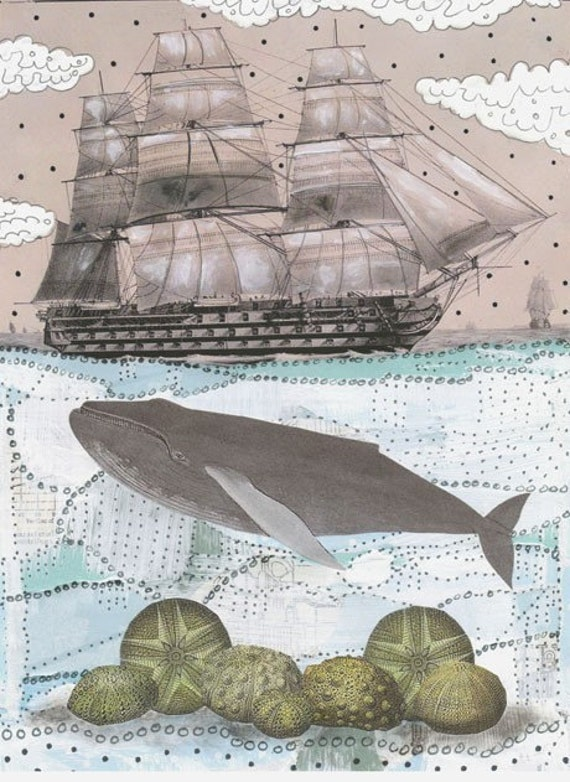 """Clearance! Whale Art Print , Whale Painting Reproduction 5x7"""", Mixed Media Collage Painting , Nautical Wall Art and Home Decor , Ship Art"""