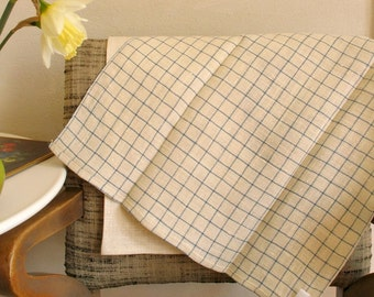 Linen Kitchen Towels / Hand or Dish Towels / Simple Blue & Natural Set of 2