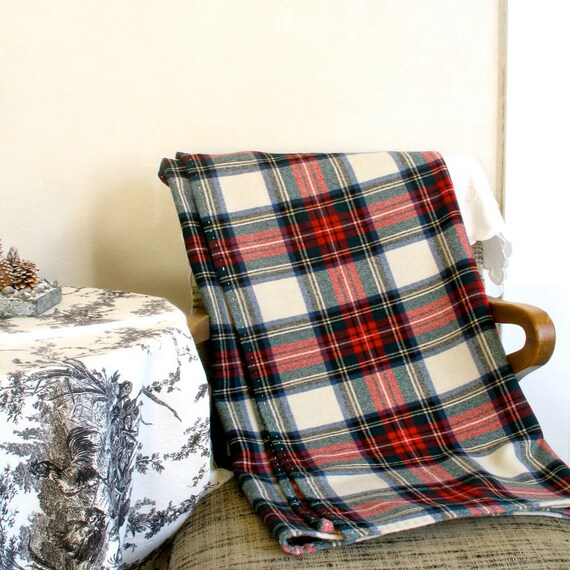 Merino Wool Blanket & Case / Car Throw or Shawl / Red Black White Plaid