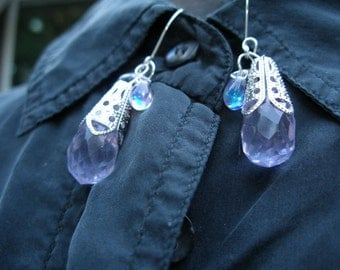Earrings -Faceted purple quartz crystal briolette, silver filigree  etsyBead Team, WWWG,, paganteam, OlympiaEtsy, HandmadeJewelry