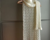 Knitted scarf shawl wrap cape hood cream ivory chunky knit winter fashion accessory memake handmade