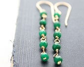 emerald earrings, emerald green earrings, gold emerald Jewelry, Bridal Earrings Bridesmaid Dangle
