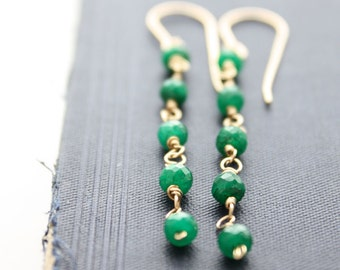 emerald earrings, emerald green earrings, gold emerald Jewelry, Bridal Earrings Bridesmaid Dangle