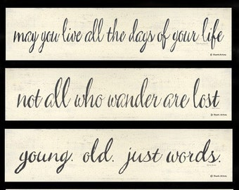 inspirational word quotations print by Donna Atkins. Minimalist style. Words, sayings, quotes. Black & white