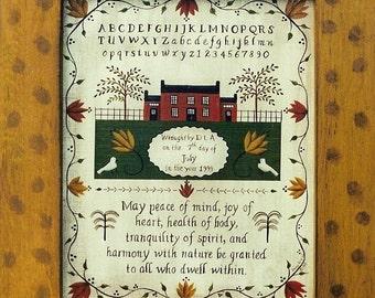 PEACE OF MIND Folk Art/Primitive Sampler E-Pattern. Alphabet, quotation, personalization box. Donna Atkins