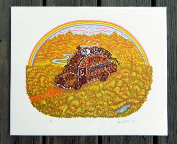 RV Camper Woodcut Print Woodblock Print