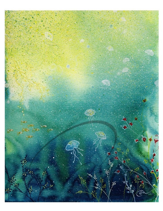 Through Light - Watercolor Art Print Ocean Jellyfish Deep Sunlight Blue Bathroom Painting Available in Paper and Canvas by Olga Cuttell
