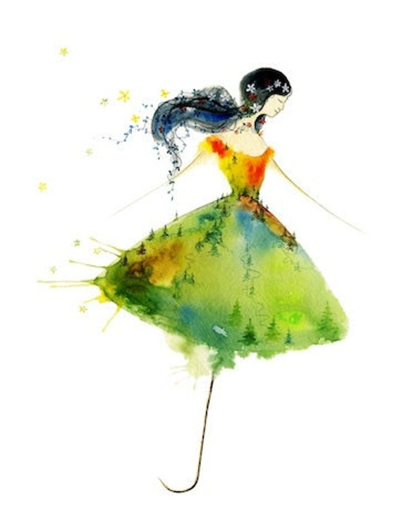 The Twist Watercolor Art Print Umbrella Girl Free Spirit
