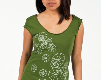 SALE - M,L - Graphic tee for women, womans tops tshirts, silkscreen womens t-shirt, womens tees, tops & tees, olive green tshirt, wheels