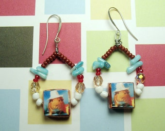Unique Rainbow Chandelier GUINEA PIG Earrings - The Guinea Pig Hipster