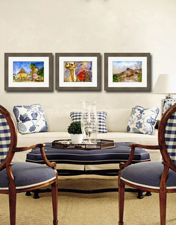 Jewish Art | watercolor Prints of Jerusalem | Jewish gifts | watercolor landscape paintings | JUDAICA art | hanukkah gift idea | Set of 3