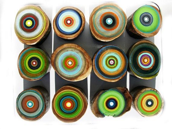 Original Tree Ring Paintings by Tracy Melton Repurposed Wood Childs bedroom or Nursery
