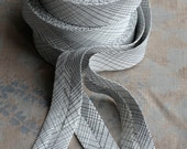 Linen bias tape - white check -- width 3 cm