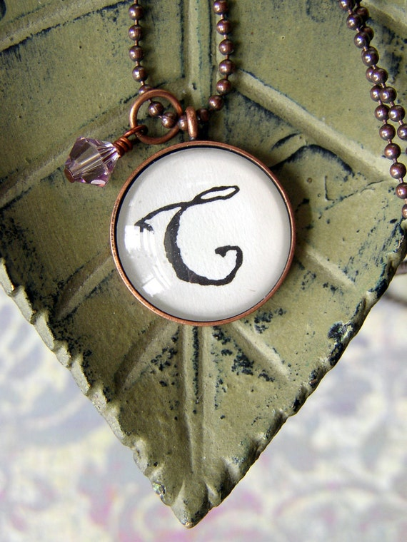 Monogram Necklace Letter C, Domed Glass and Antiqued Copper Bezel