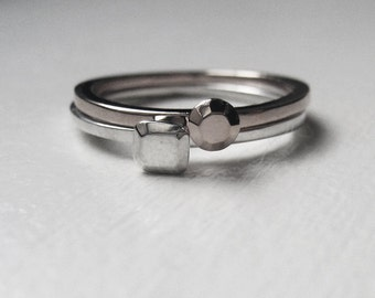 Mini diamond ring - faceted stack rings - recycled sterling silver - modern-  mini Modern Rock set -size 6