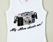 "Vintage Camera Tee Photography Custom Size Retro Baby ""My Mom Shoots Me"""