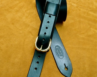 Leather Guitar Strap Black bridle leather Classic Vintage rocker strap Strong and clean Handmade for YOU in NYC by Freddie Matara!