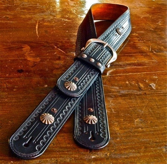 Leather Guitar strap Hand tooled, Black Leather OUTLAW Cowboy Rockstar Country vintage Conchos handmade for YOU in NYC by Freddie Matara!