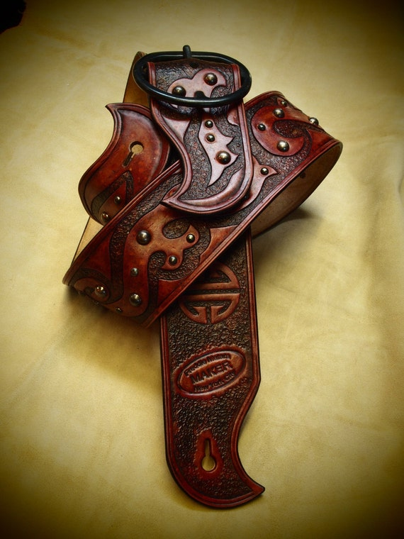 Leather Guitar strap Antique RED Hand tooled, Handmade, Asian tribal style with Fine hand work made for YOU in USA by Freddie Matara!