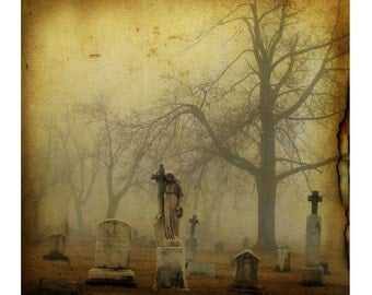 Gothic Fog Photograph, Eerie, Goth, Spooky, Aged, Surreal, Gothic Home Decor, Vintage Colors - Stone Lady