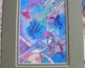 Blue Jay Wildlife Watercolor Painting, Abstract Art, Bird Illustration, Double Matted In Sage Green, Animals, Nature
